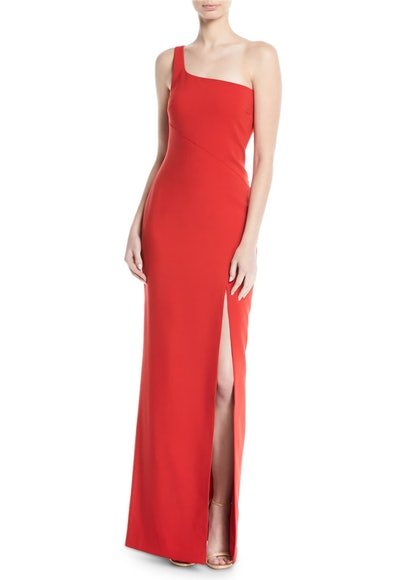 Camden One-Shoulder Gown with Slit