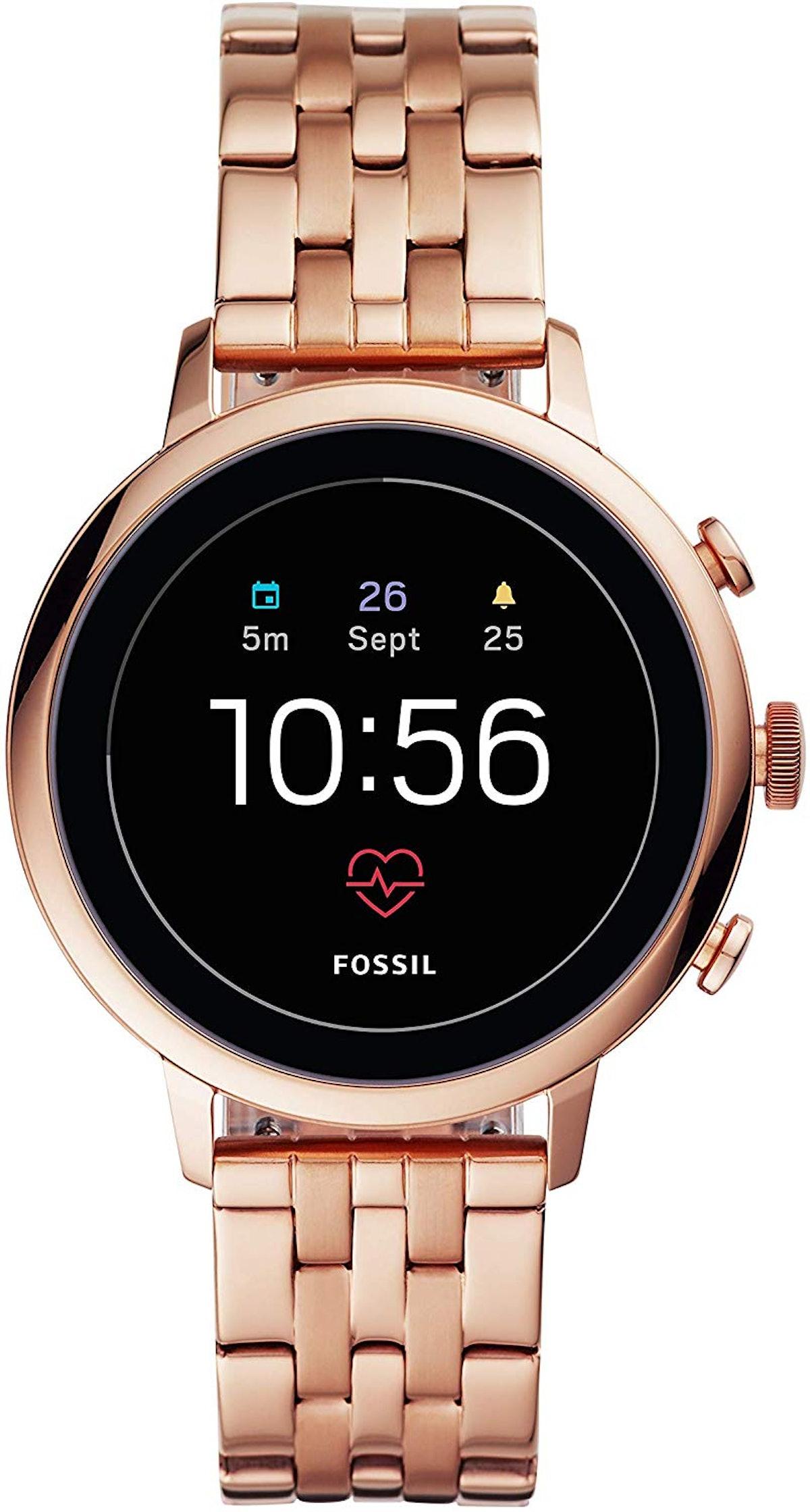 Fossil Women's Gen 4 Venture HR Heart Rate Stainless Steel Touchscreen Smartwatch, Rose Gold 5-Link