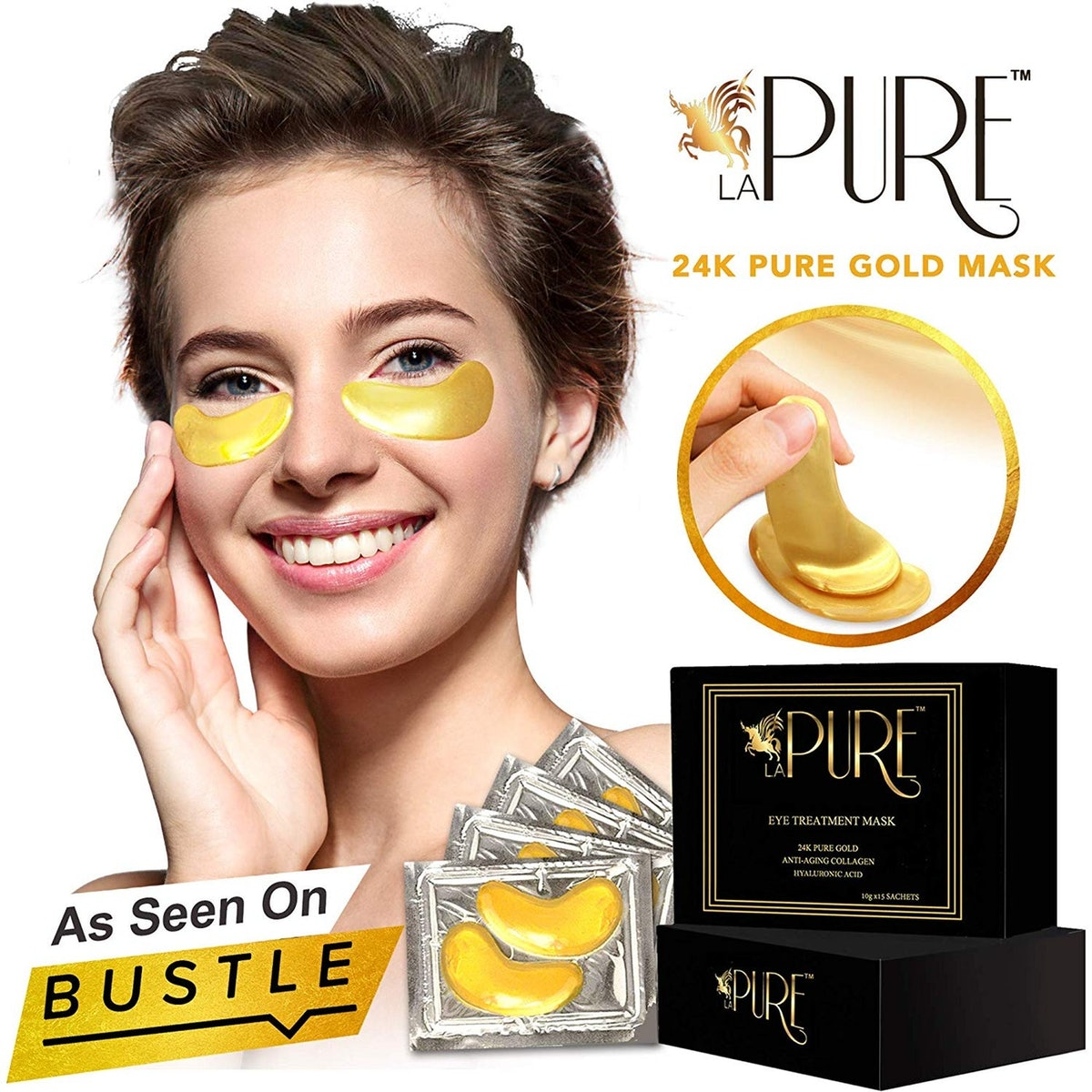 LA PURE 24K Gold Eye Treatment Masks (15 Pairs)