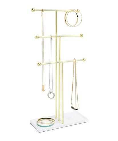 Umbra Brass Trigem Hanging Jewelry Organizer
