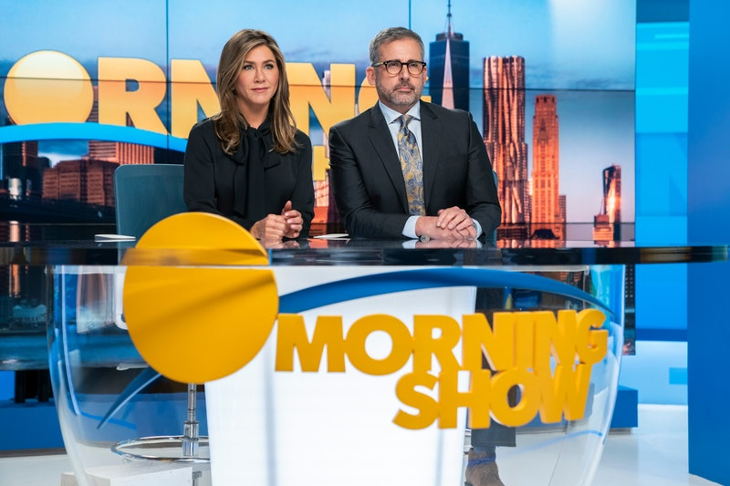 Jennifer Aniston as Alex Levy and Steve Carell as Mitch Kessler in AppleTV+'s The Morning Show.