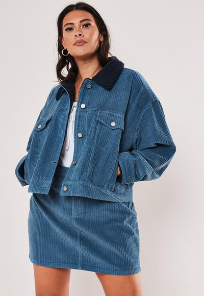 Plus Size Blue Teddy Collar Cord Jacket