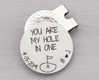 Personalized Golf Gift for Him - Custom Golf Ball Marker with Magnetic Hat Clip - Golfer Gift for Hi...