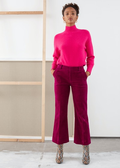 Cropped Wide Corduroy Trousers
