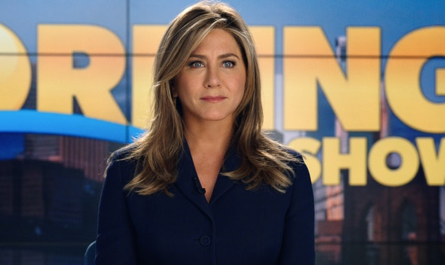 "Jennifer Aniston as Alex Levy delivering that tearful address on ""The Morning Show."""