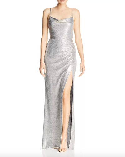 Metallic Knit Drape-Neck Gown