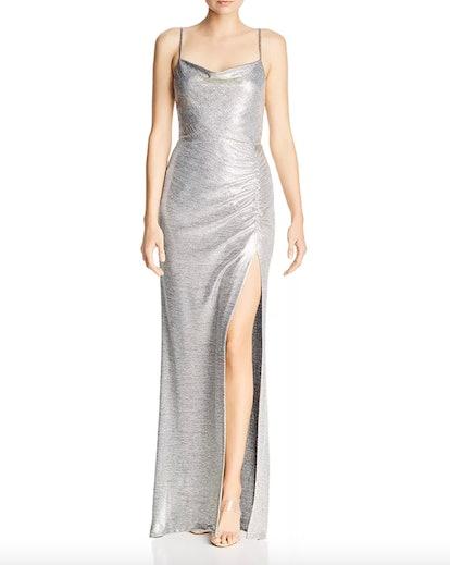 Metallic Knit Drape-Neck Gown
