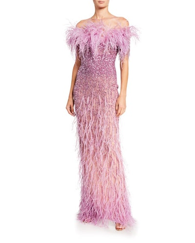 Crystal Off-the-Shoulder Gown with Feather Trim