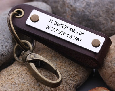 Latitude Longitude keychain - Mens GPS Leather Keychain - Leather key chain