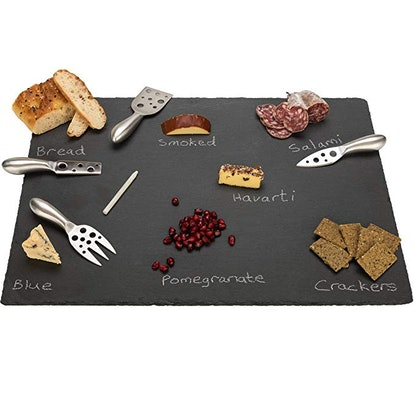 Extra Large Slate Cheese Board and Stainless Steel Cutlery Set