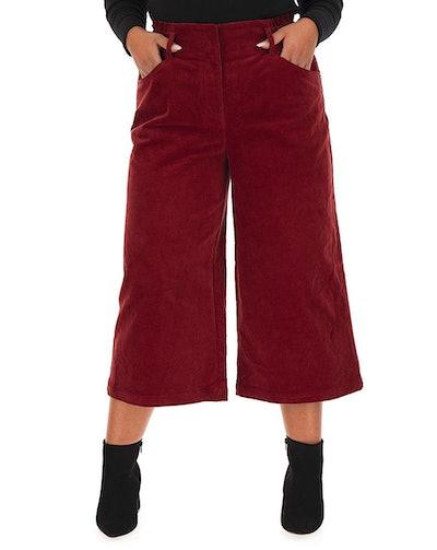 Cord Crop Wide Leg Trousers