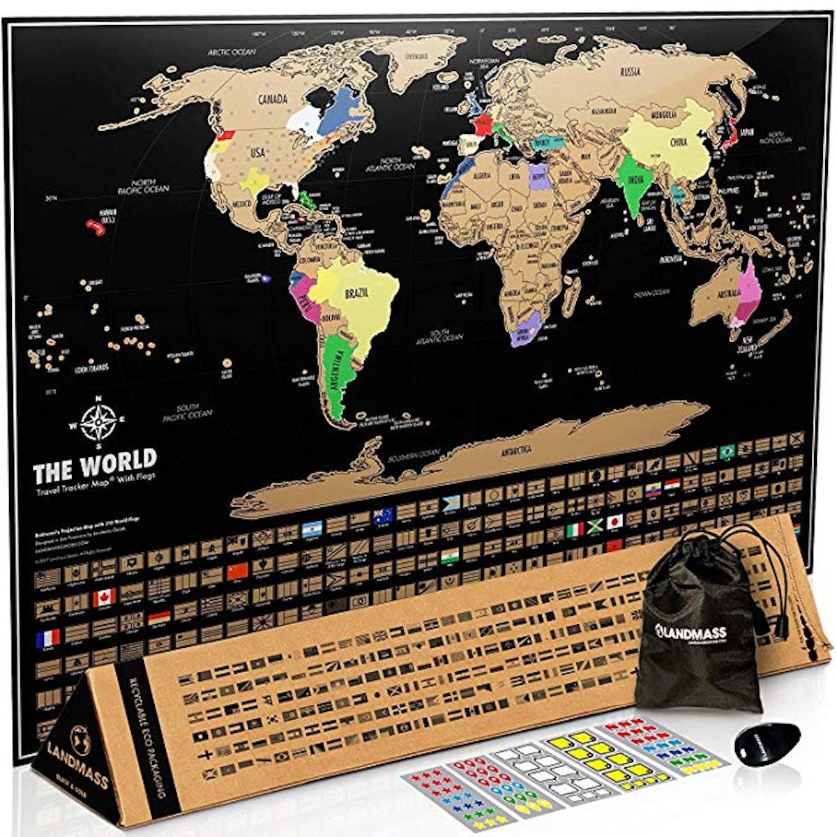 Landmass Scratch Off Map of The World