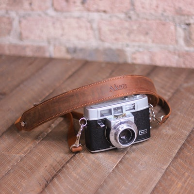 Distressed Leather Camera Strap, Personalized Custom Rustic Leather Pro DSLR Camera Holder, Brown He...