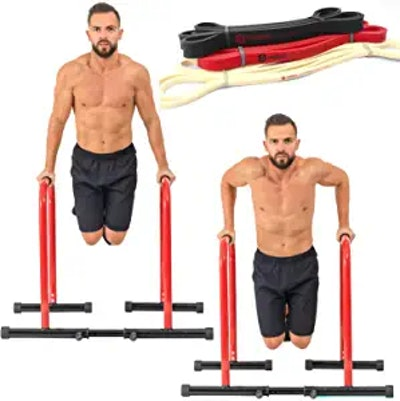 GoBeast Dip Stand with 3 Resistance Bands and Stability Bar