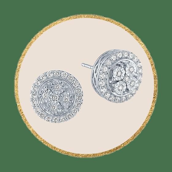 1/4 CT. T.W. Genuine Diamond Sterling Silver 10mm Stud Earrings