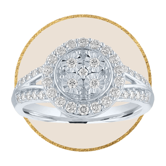 Womens 1/4 CT. T.W. Genuine Diamond Stainless Steel Cocktail Ring