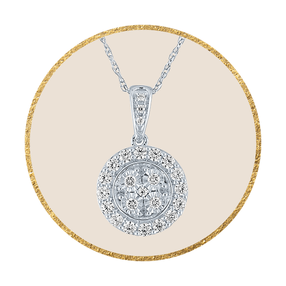 1/4 CT. T.W. Genuine Diamond Pendant Necklace in Sterling Silver