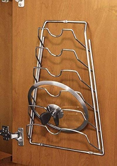 Organize It All Wall Cabinet Door Pot Lid Rack