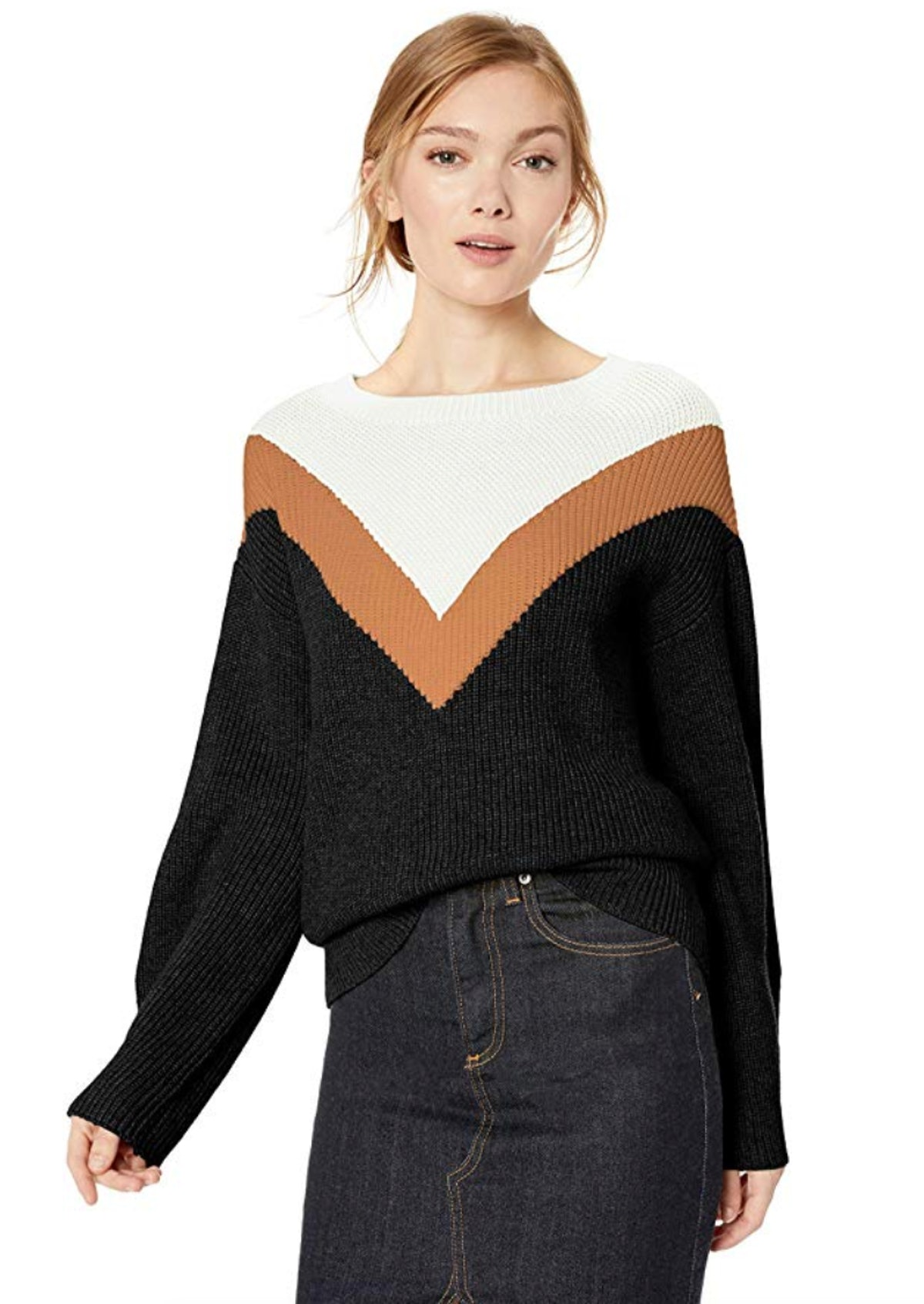 Cable Stitch Women's Geometric Colorblock Sweater