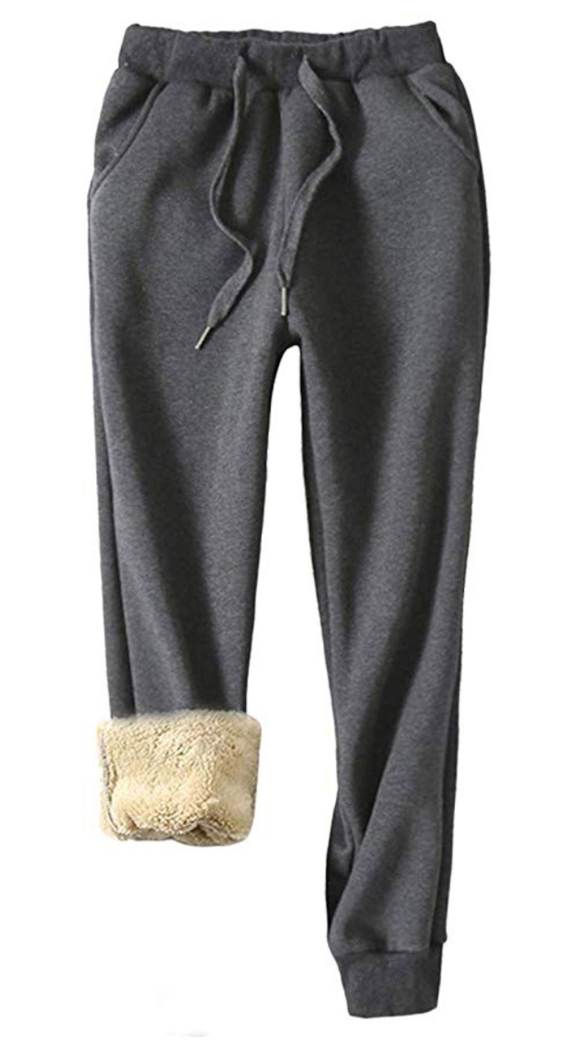 Yeokou Women's Warm Sherpa Lined Sweatpants