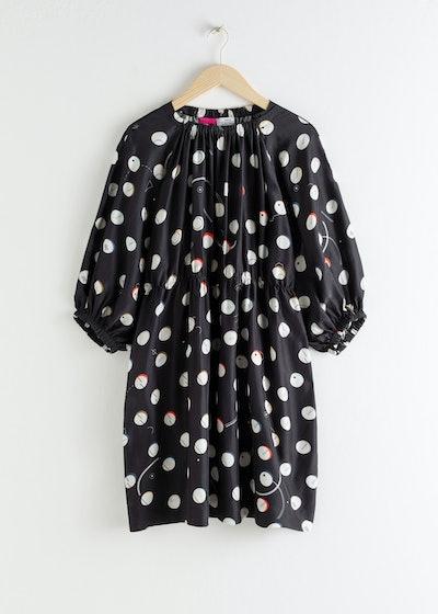 Voluminous Dotted Satin Mini Dress