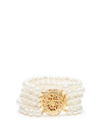 Pearl and Gold-Plated Bracelet