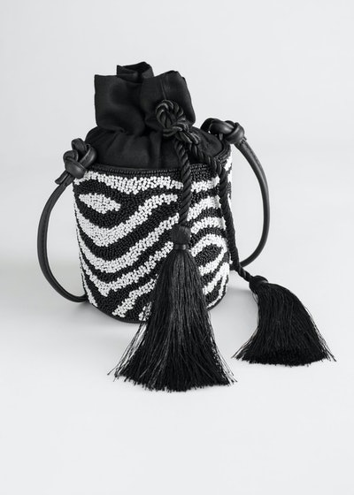 Beaded Zebra Bucket Bag
