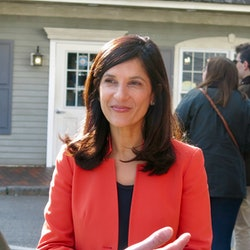 Sara Gideon, a candidate for U.S. Senate in Maine, speaks with voters.