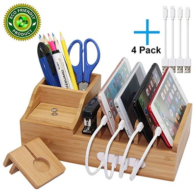 Pezin & Hulin Multiple Devices Organizer Bamboo Charging Station