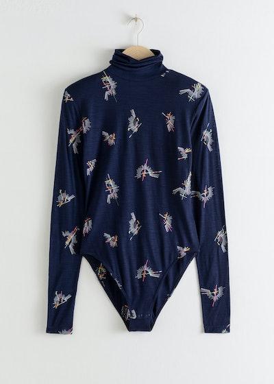 Embroidered Wool Turtleneck Bodysuit