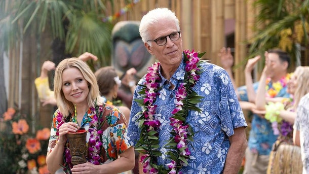 Eleanor and Michael hosted a luau on 'The Good Place.'