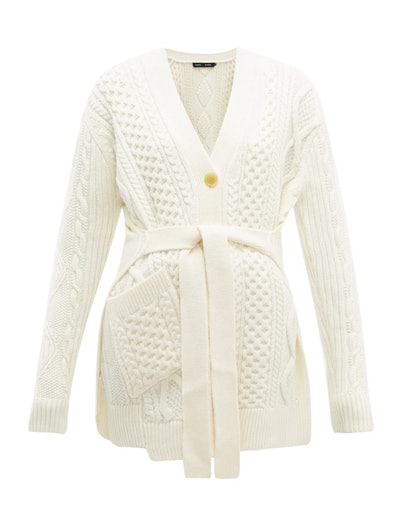 Belted Cable-Knit Wool Sweater