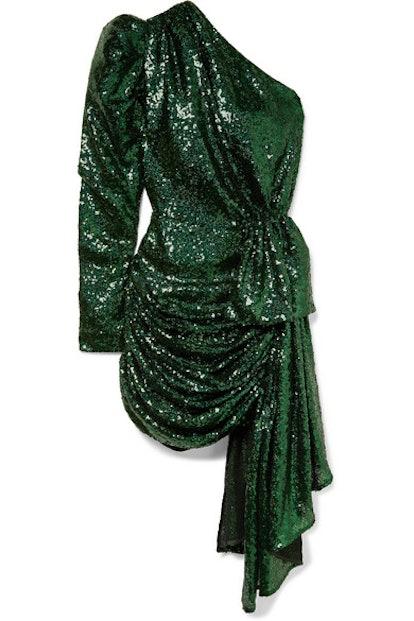 One-SleeveDraped Sequin Dress