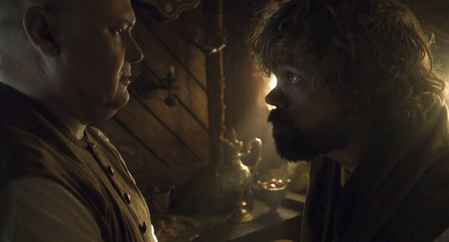 Conleth Hill as Lord Varys and Peter Dinklage as Tyrion Lannister in Game of Thrones