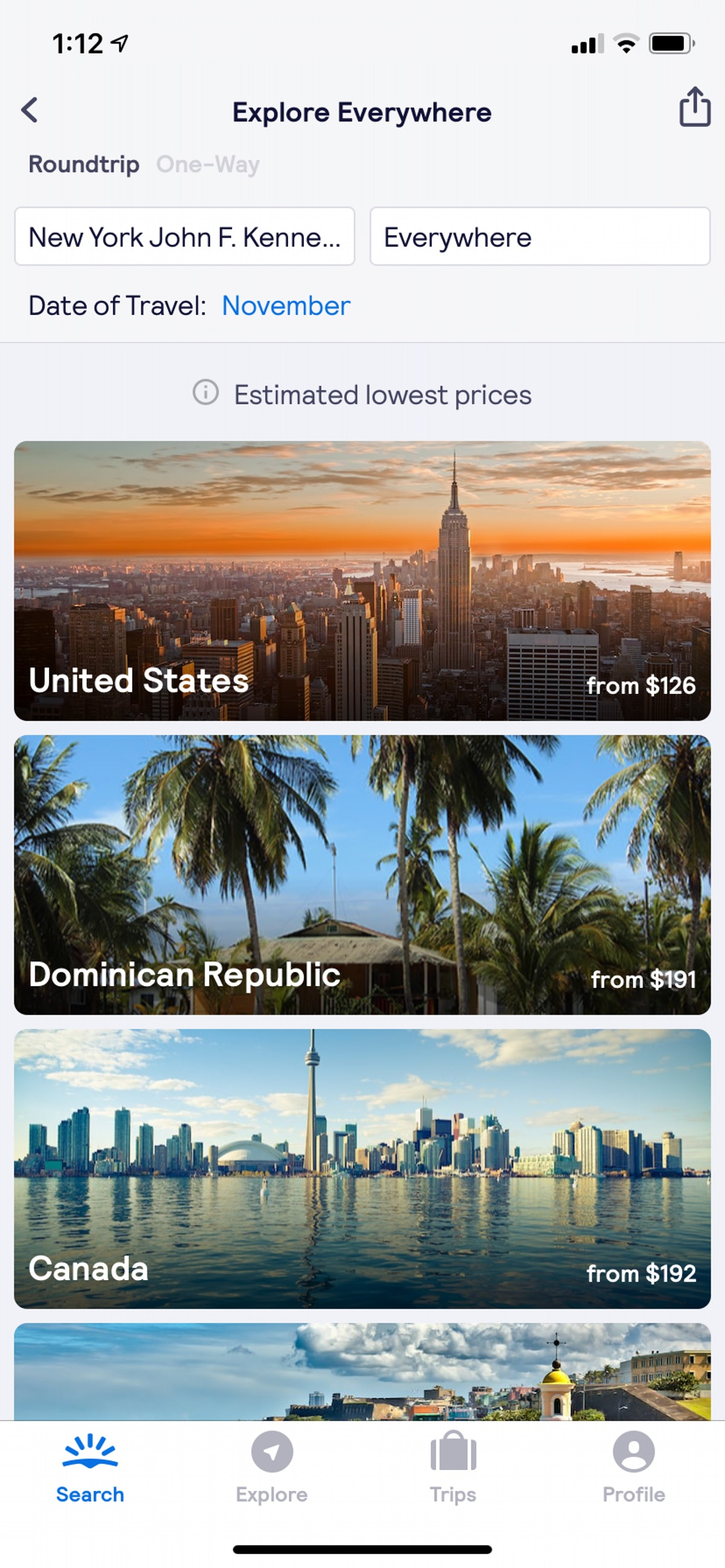 A screenshot of the Skyscanner app shows the cheapest flights in November 2019 from JFK.