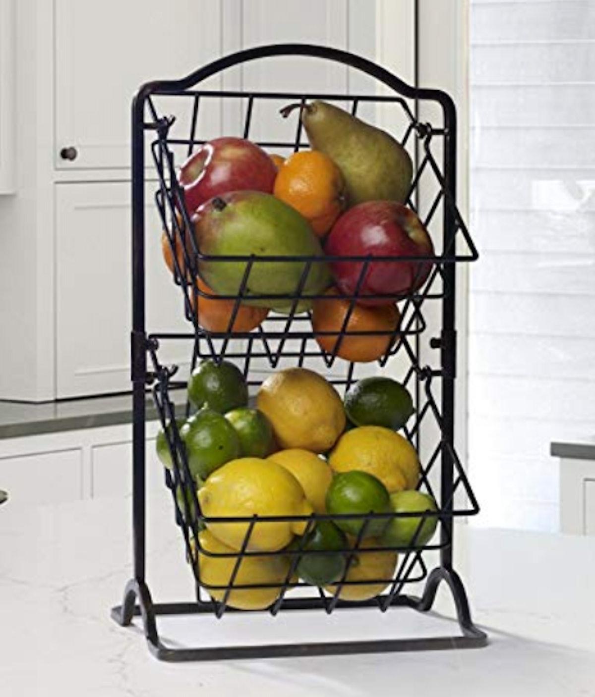Gourmet Basics by Mikasa 2-Tier Metal Countertop Storage Basket