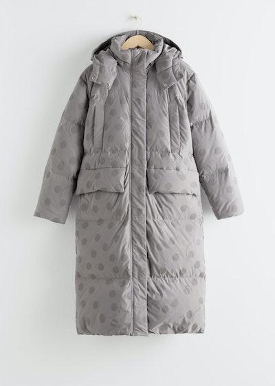 Oversized Polka Dot Down Puffer Coat