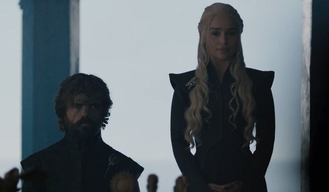 Peter Dinklage as Tyrion Lannister and Emilia Clarke as Daenerys Targaryen in Game of Thrones