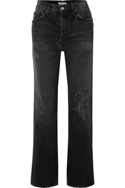 Originals Distressed High-Rise Straight-Leg Jeans