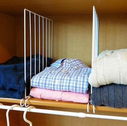 Evelots Closet Wood Shelf Divider