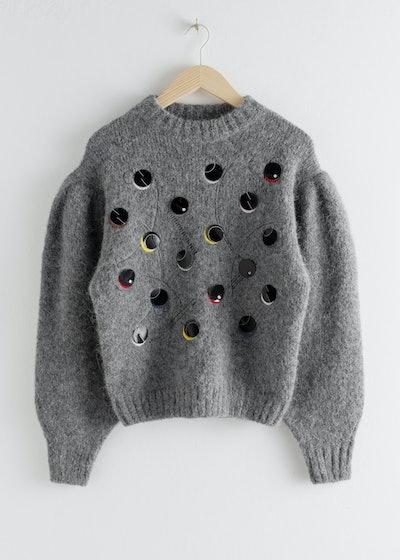 Embroidered Alpaca Blend Dot Sweater