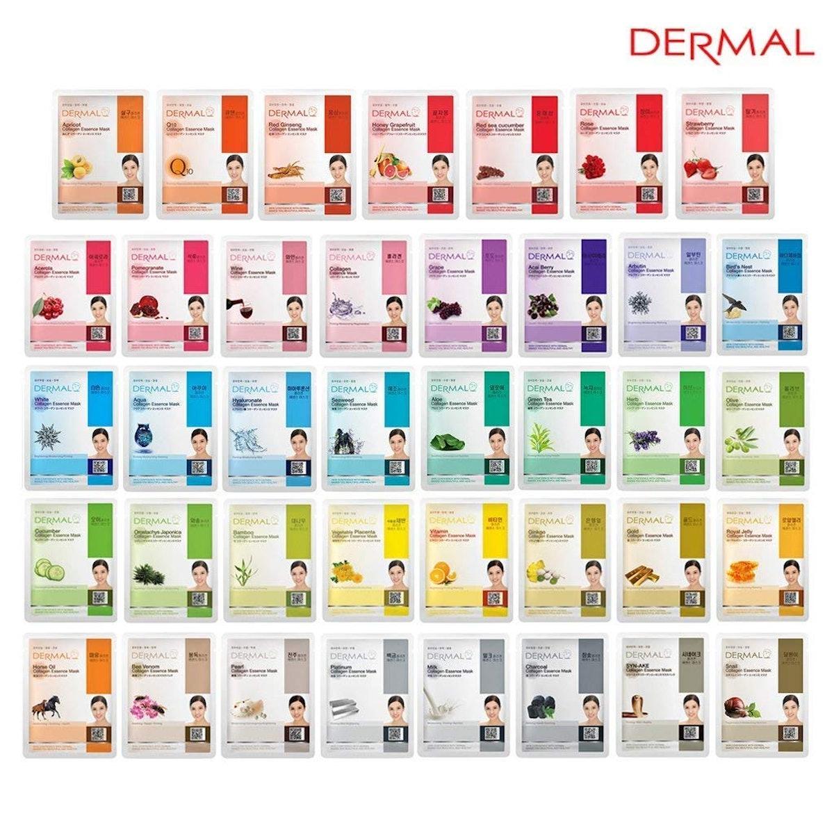 DERMAL Combo Pack Full Face Facial Mask Sheet (39-Pack)