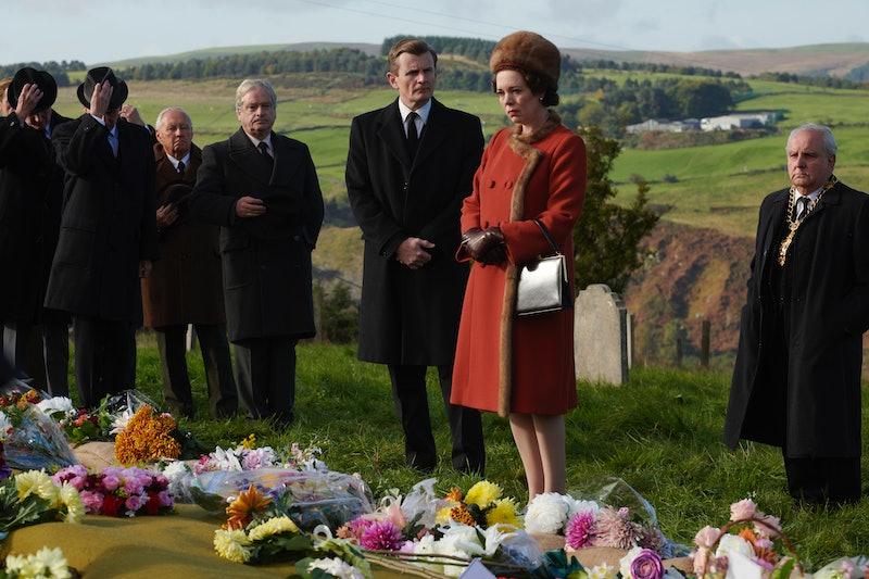 Olivia Colman as Queen Elizabeth visits Aberfan in 'The Crown' Season 3