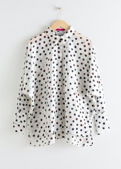 Printed Lyocell Blend Oversized Shirt