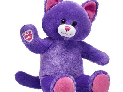 purple stuffed cat from build-a-bear
