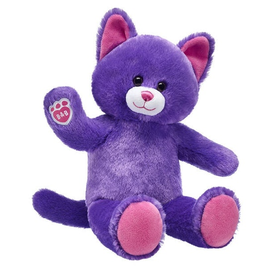 purple stuffed cat from build-a-bear