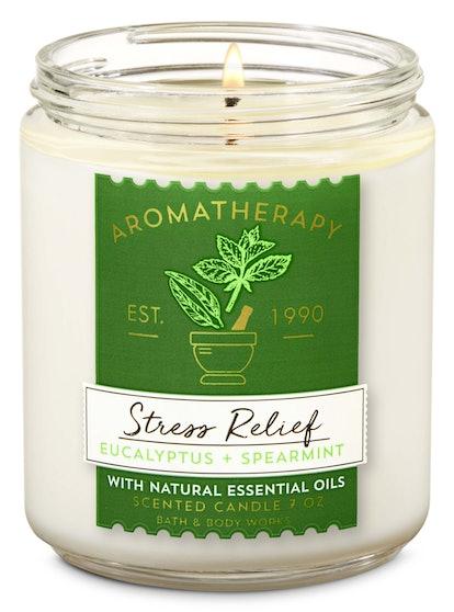 Aromatherapy Stress Relief Eucalyptus Spearmint Single Wick Candle