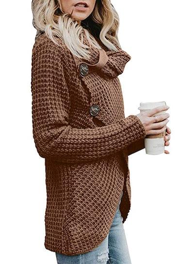 Asvivid Women's Asymmetric Hem Wrap Sweater