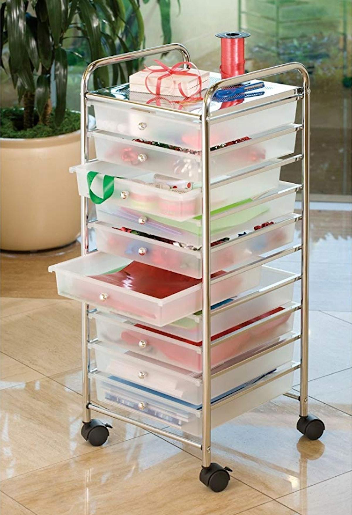 Seville Classics Large 10-Drawer Organizer Cart