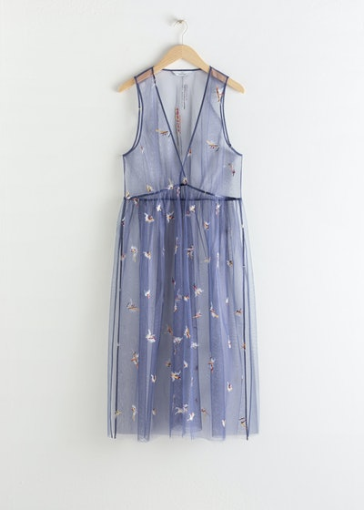 Sheer Embroidered Tulle Midi Dress